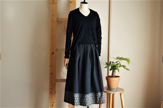 大島紬×ムラ糸コットンのスカート*みどり系の花柄*裏地付きの画像1枚目