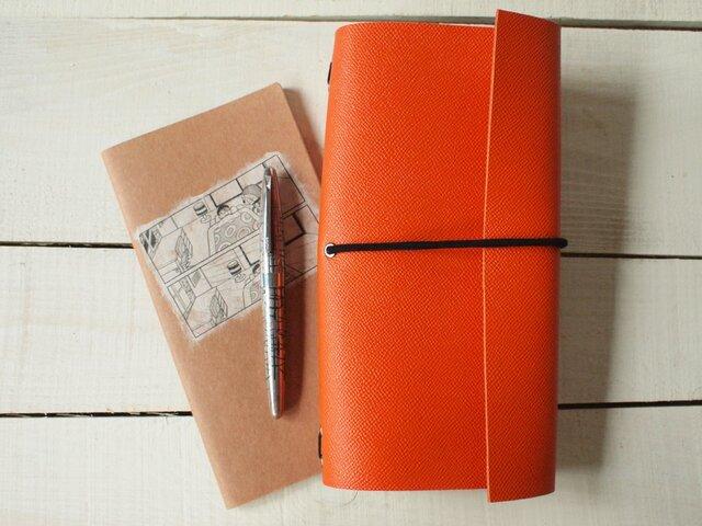 本革 夕張メロンみたいなオレンヂA5変形手帳カバー・トラベラーズの画像1枚目