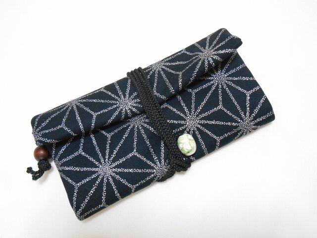 道中財布 帆布 黒 麻の葉 銀色 三つ折り長財布の画像1枚目