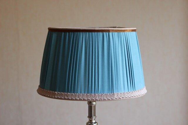 布ランプシェード 交換用 ホルダー式: 『ミラボー』ターコイズブルーの画像1枚目