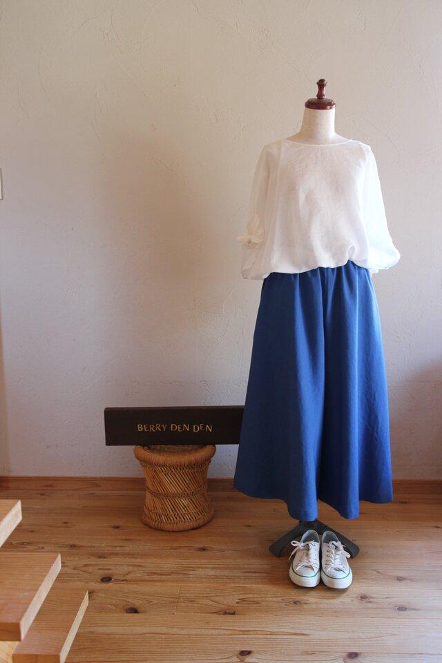 リネン「青」83cm丈 ポケット付きの画像1枚目