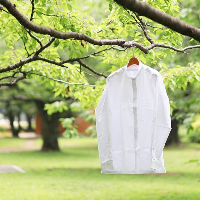 【size XXL】ルーズフィット・カジュアル / ライトグレー バンドカラーシャツの画像1枚目