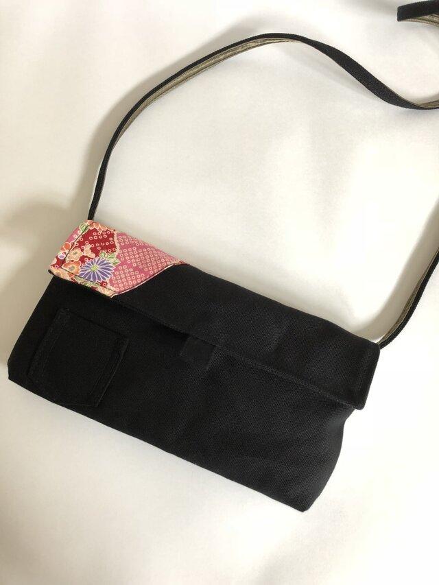 ウォレットバッグ/黒/和柄の画像1枚目