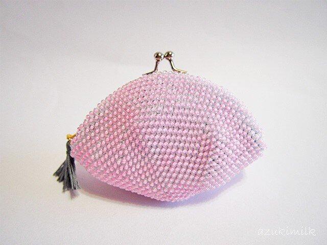 ビーズ編みがま口【色遊び】ピンクの画像1枚目