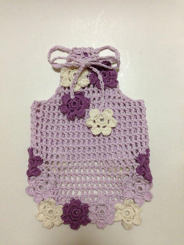 ●手編み●お花モチーフのキャミソール 胴回り30の画像1枚目