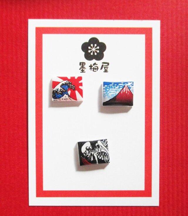 【樹脂ピアス】浮世絵Remixピアス3個セットの画像1枚目