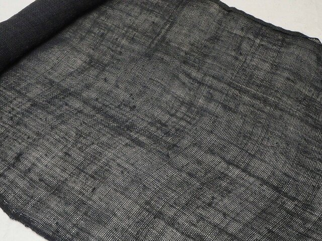 asa0026B 麻布 蚊帳の解き100cm 藍染☆古布古裂/木綿/筒描き/型染め/藍染/絹/ボロ襤褸の画像1枚目
