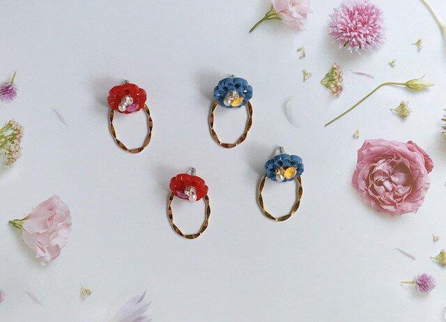 【2way】お花のボタンとオーバルリングのピアスの画像1枚目
