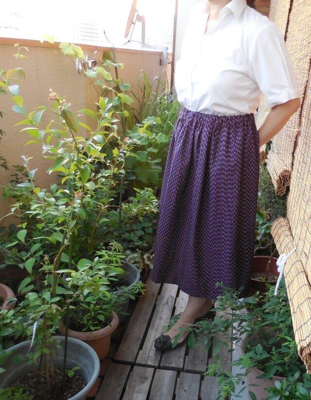 セール!久留米絣のスカート(紫)の画像1枚目
