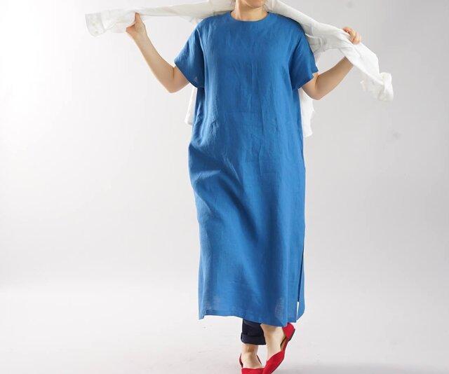 【wafu】薄地 雅亜麻 リネン ワンピース フレンチスリーブ ビック 襟ぐり小さめ 膝下丈/ 薄藍 a041e-usa1の画像1枚目