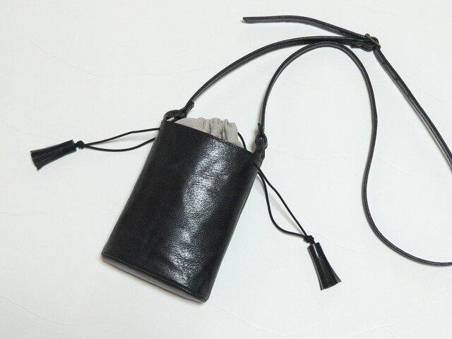 [受注生産] 小さなバケツ型のミニポシェット 黒の画像1枚目