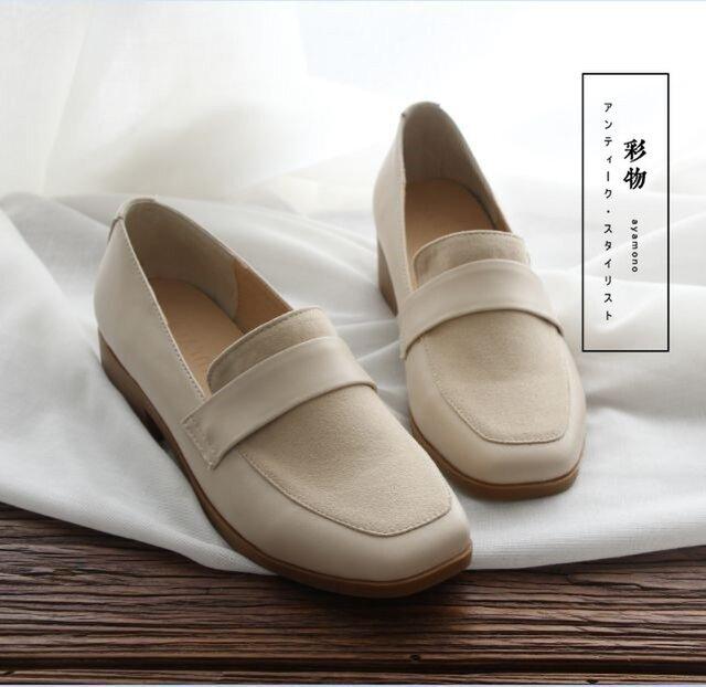 【受注製作】牛革ローファーパンプス 革靴 白 RF7393の画像1枚目