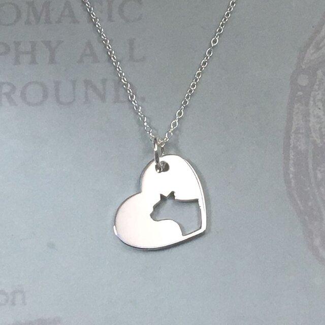 CatProfile-1 Openwork Heart Pendant Silver ネコの透かし彫りペンダントの画像1枚目
