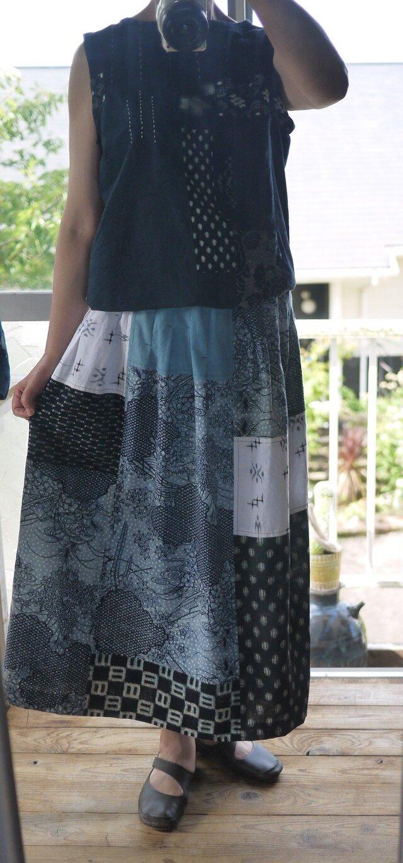浴衣、古布、リネンからパッチスカートの画像1枚目