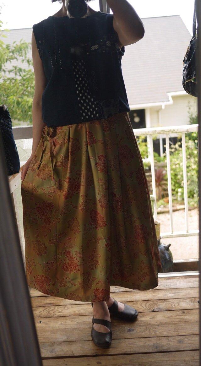 リメイク 着物からギャザースカートの画像1枚目