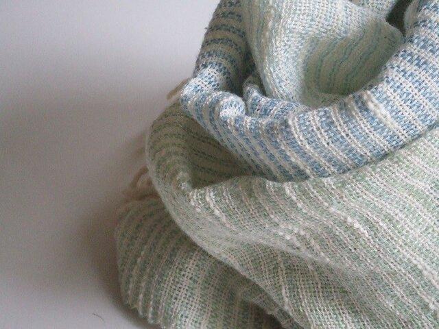 ☆七夕フェア☆手織り横しましまストール・・アクアの画像1枚目