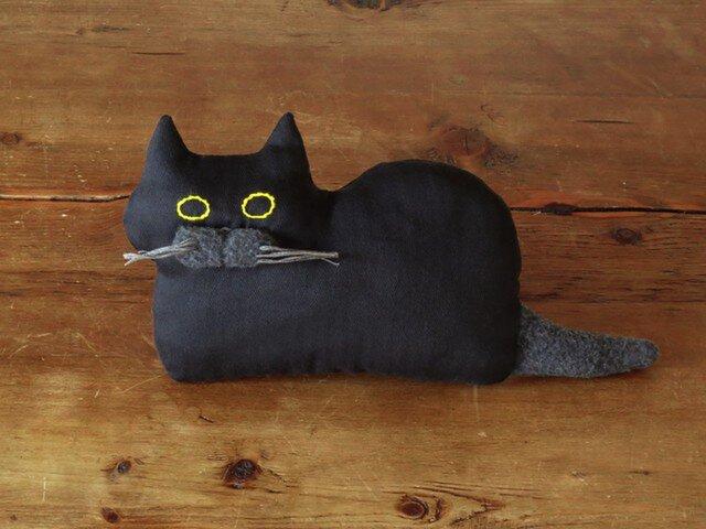 """再々販 >> """" Stickitten"""" kitten loaf ブラック(ヘリンボーン)の画像1枚目"""