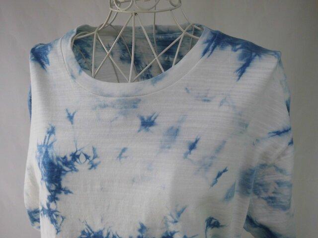藍染め・少し厚手の絞り染めTシャツ_1・波の飛沫・Lの画像1枚目