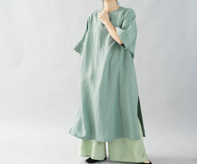 【wafu】中厚 リネン ワンピース ビックシルエット チュニック 裾スリット Tシャツ / エメラルドティント t16-19の画像1枚目