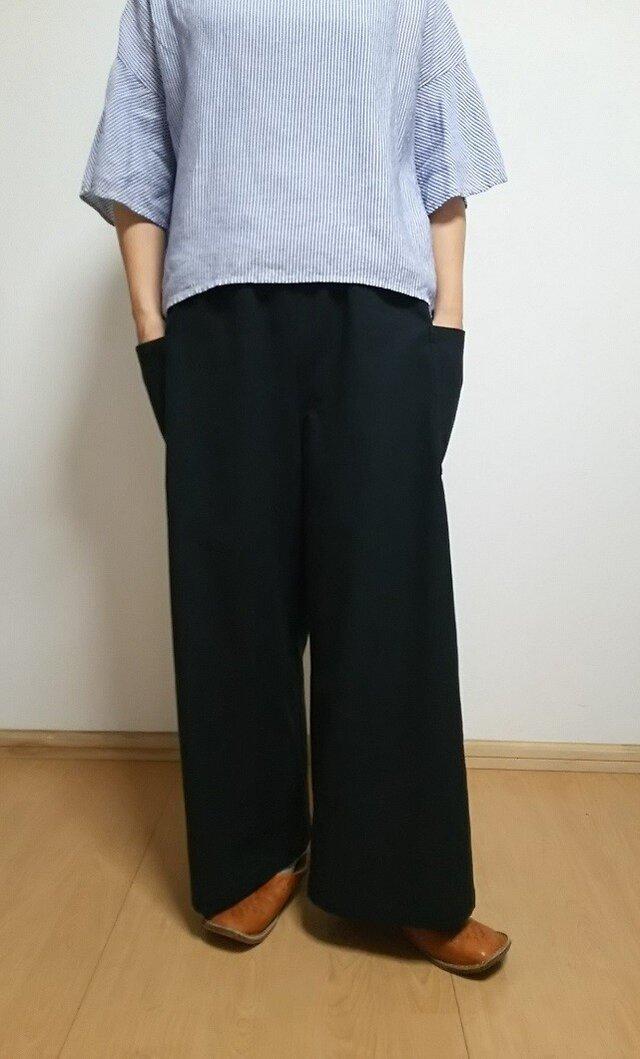 受注製作☆ハーフリネン☆シンプルワイドパンツの画像1枚目