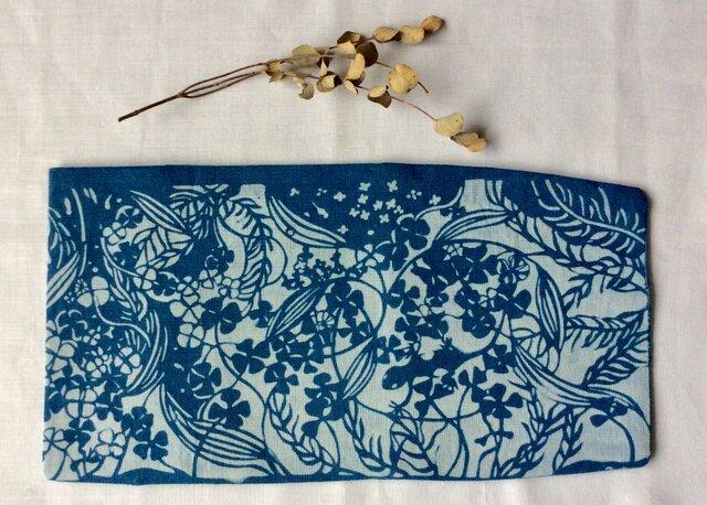 藍染め ブックカバー 「水中遊泳」の画像1枚目