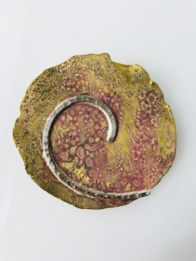 黄銅の月/ブローチ(ペンダント兼用) 950silverと真鍮の画像1枚目
