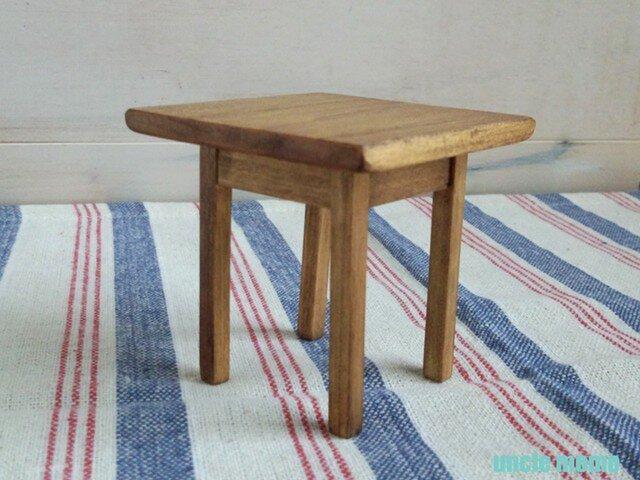 ドール用テーブル小(色:チェスナット) 1/12ミニチュア家具の画像1枚目