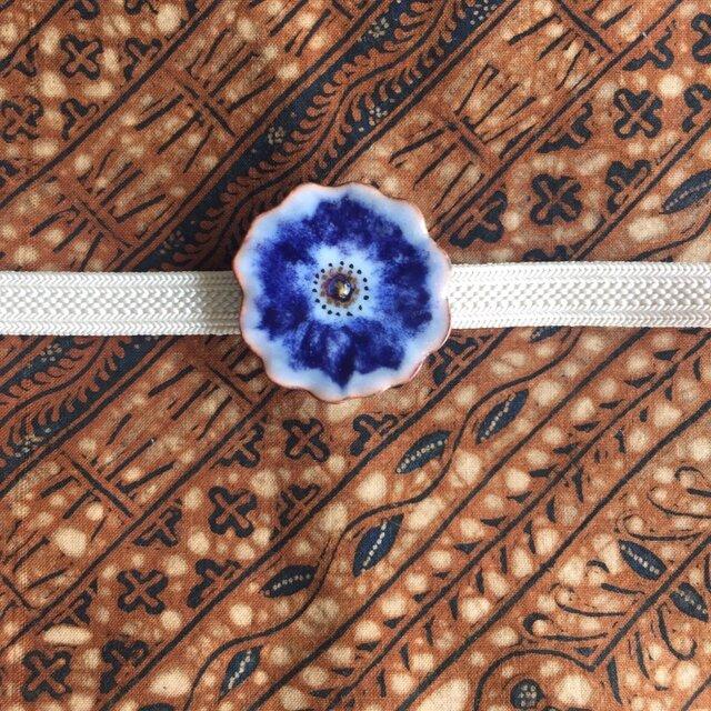 七宝焼帯留め(藍色の花)の画像1枚目