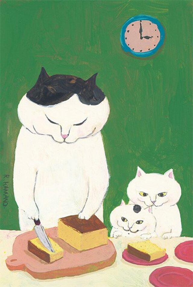 カマノレイコ オリジナル猫ポストカード「カステラ」2枚セットの画像1枚目