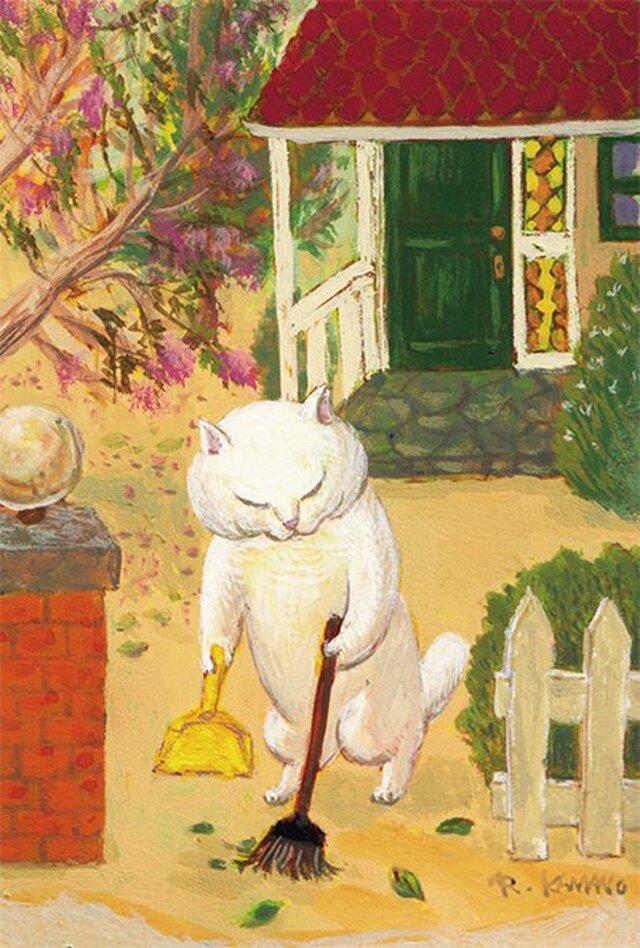 カマノレイコ オリジナル猫ポストカード「掃き掃除」2枚セットの画像1枚目