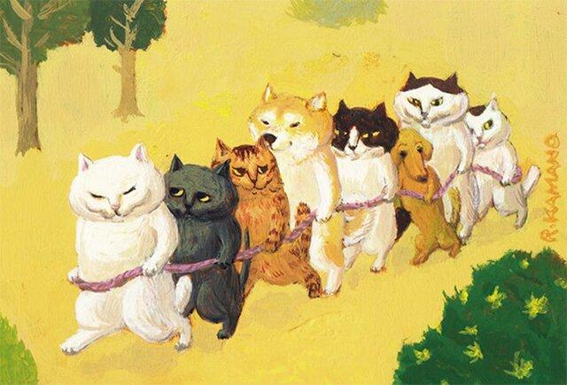 カマノレイコ オリジナル猫ポストカード「電車ごっこ」2枚セットの画像1枚目