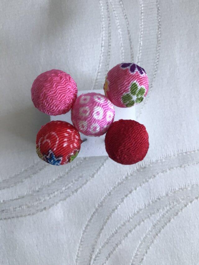 赤とピンクのこてまりUピン5本セット7(浴衣・成人式・ちりめん細工)の画像1枚目