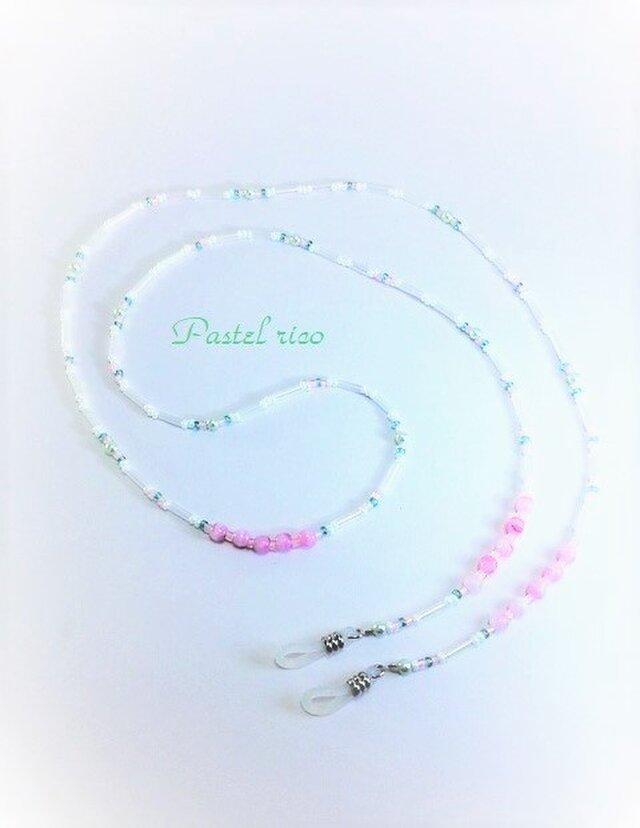 ホワイトとパステルピンクのふんわりグラスコードの画像1枚目