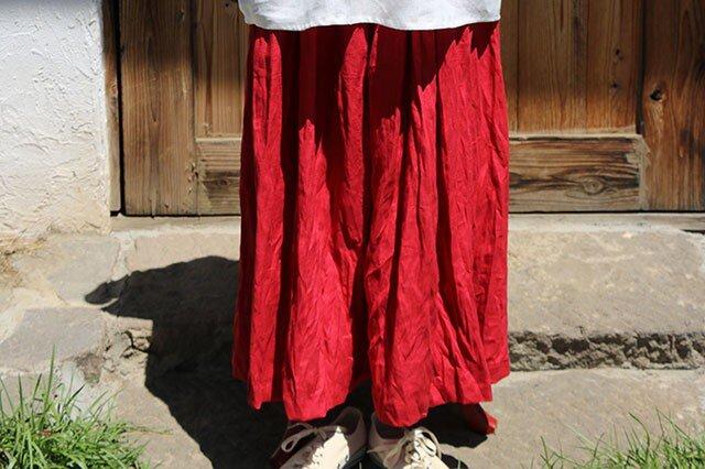ギャザースカート:赤の画像1枚目