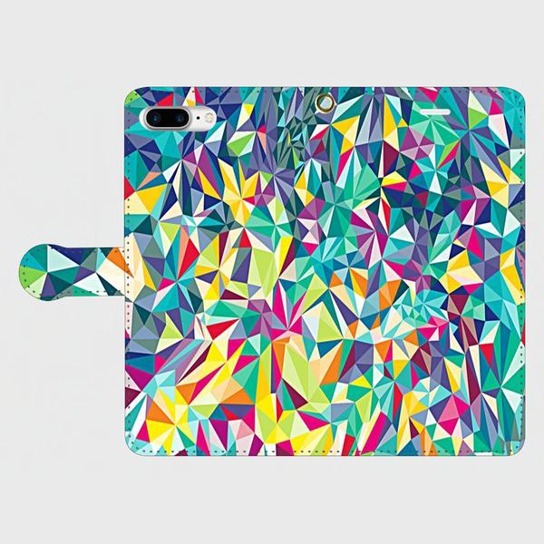 ジオメトリックパターン (マルチカラー)iphone 6plus/6splus/7plus専用 手帳型ケースの画像1枚目