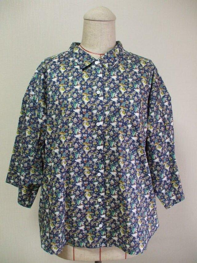 リバティタナローン グーシー・グラッドラッグス 台衿付きショールカラー オーバーサイズのブラウス L~LLサイズの画像1枚目