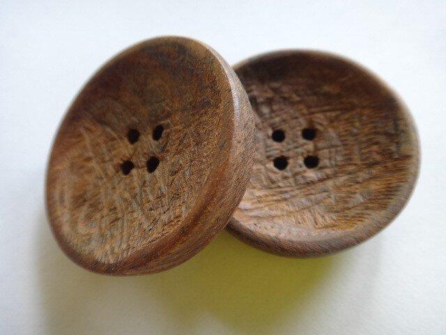 紫檀の手彫釦2個セット4穴の画像1枚目