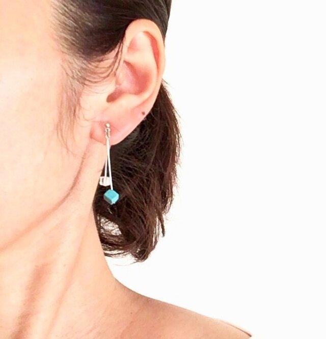 四角いturquoise&crystalの画像1枚目