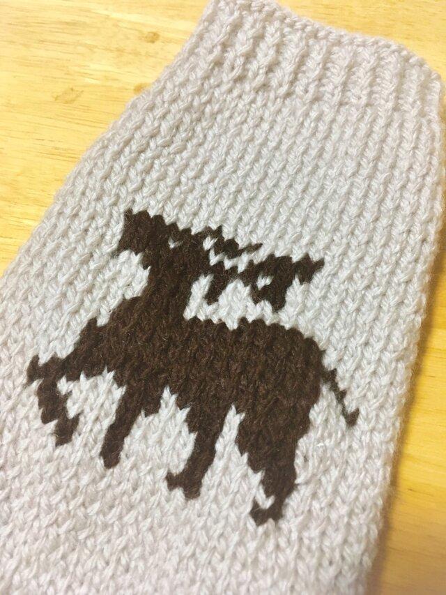 【手編み】シカ柄セーター(小型犬用・胴回り33)【犬・服】の画像1枚目