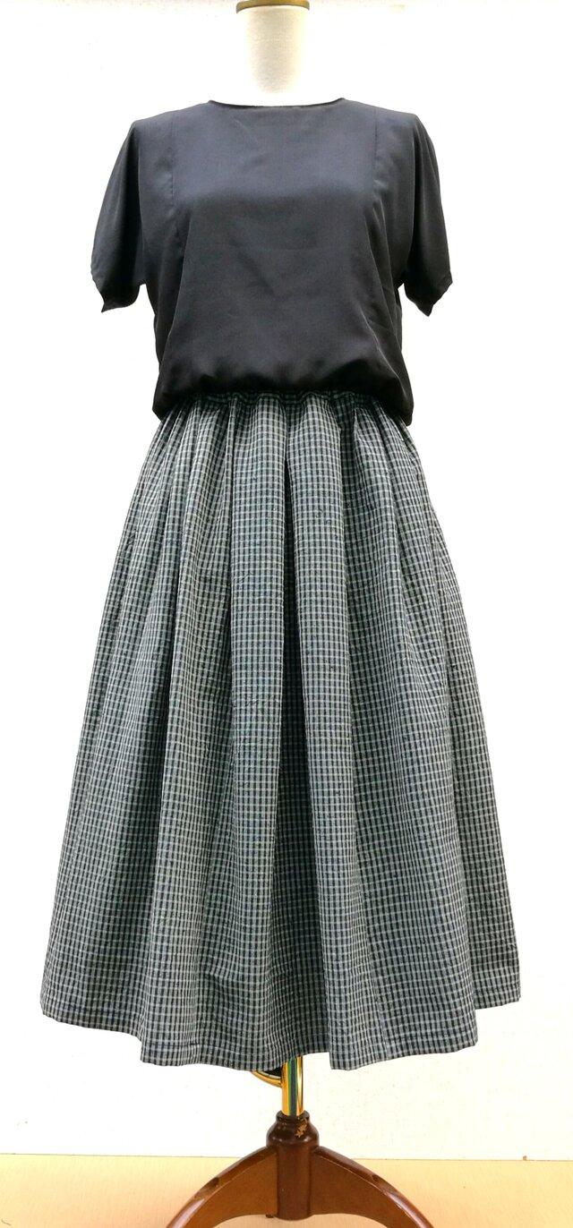 木綿着物のリメイクスカートの画像1枚目