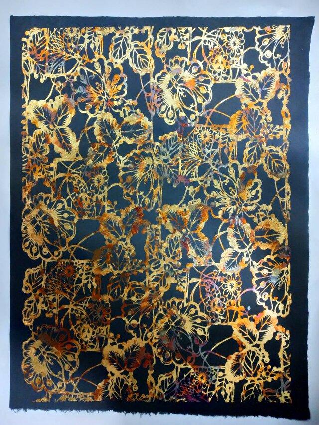 ギルディング和紙 花園柄黒和紙黃混合箔の画像1枚目