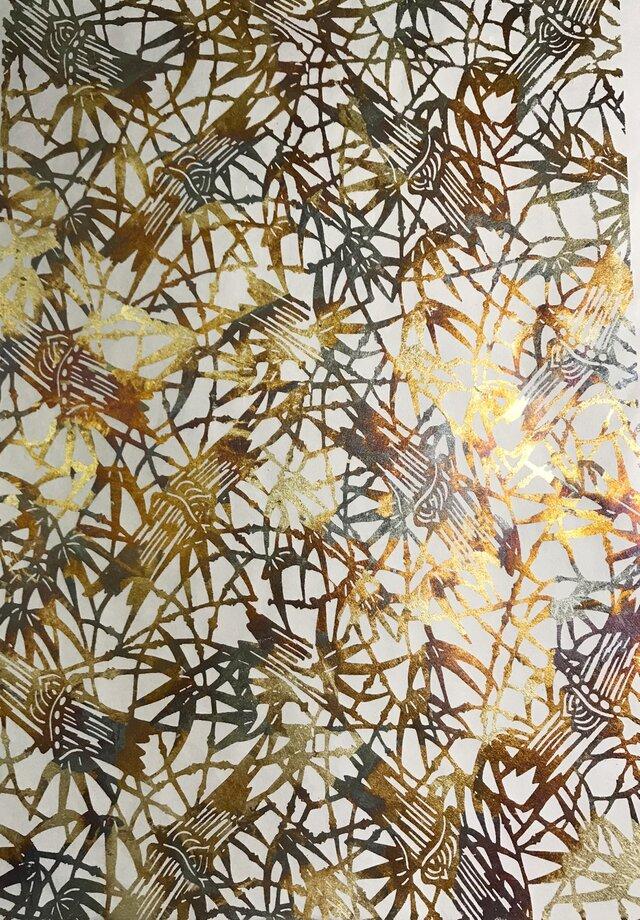ギルディング和紙 竹柄生成和紙黃混合箔の画像1枚目