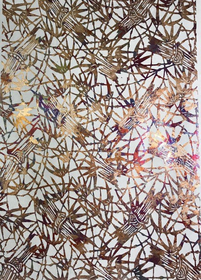 ギルディング和紙 竹柄生成和紙赤混合箔の画像1枚目