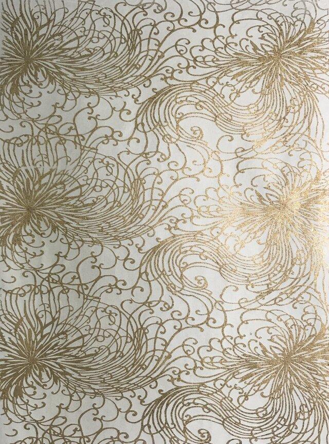 ギルディング和紙 糸菊柄生成和紙黃混合箔の画像1枚目