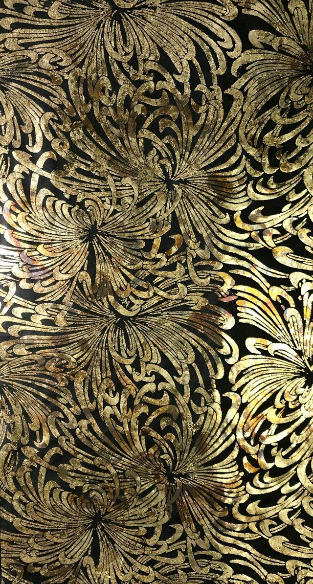 ギルディング和紙 乱菊柄黒和紙黃混合箔の画像1枚目