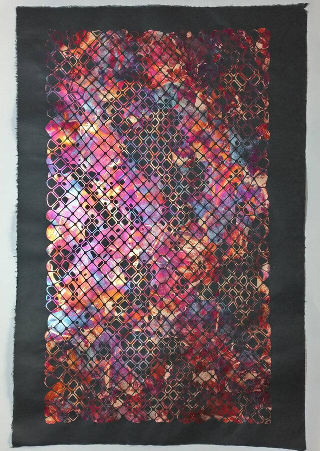 ギルディング和紙 ANIMAS 鱗 黒の画像1枚目