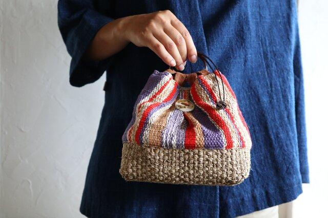 手織り巾着の画像1枚目