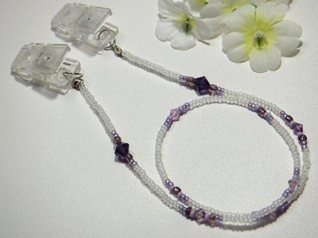 帽子留めクリップ◆半透明な白と妖艶な紫/ハットクリップロングサイズの画像1枚目