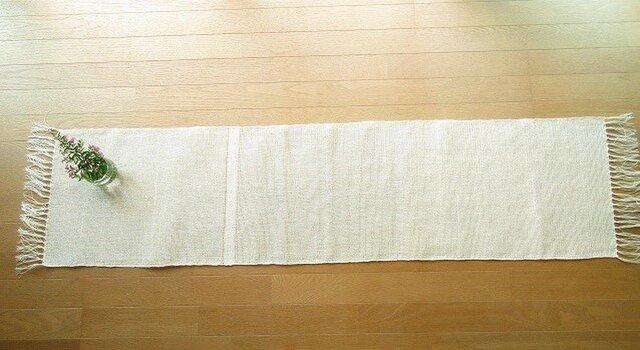 真っ白のリネンの手織りテーブルランナー(1)の画像1枚目