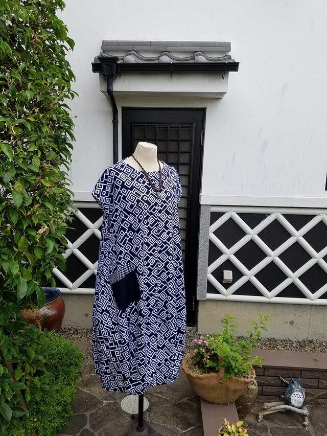 着物リメイク 手作り かわいらしい形 浴衣 バルーンワンピース の画像1枚目